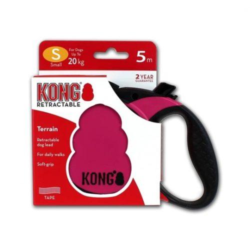 KONG Szalagos Póráz Pink-Fekete (S)