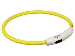 Világítós Nyakörv USB Töltővel Sárga (L-XL)